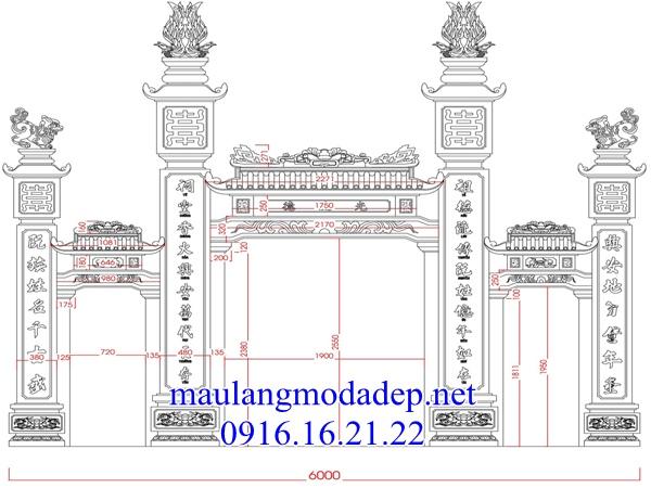 Bản vẽ kích thước cổng tam quan