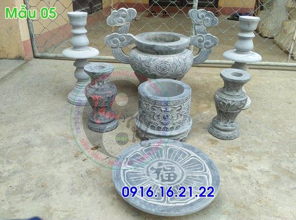Bộ đồ thờ bát hương lọ hoa mâm bồng bằng đá 05