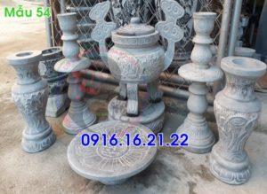 Bộ đồ thờ đỉnh hương lọ hoa mâm bồng bằng đá 54
