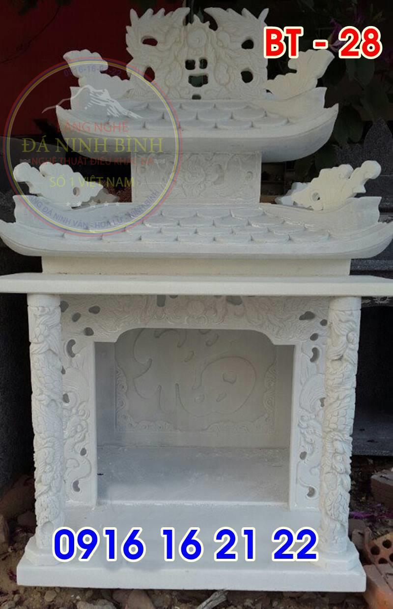 19 mẫu bàn thờ thiên ngoài trời đẹp bằng đá trắng thiết kế đẹp có mái