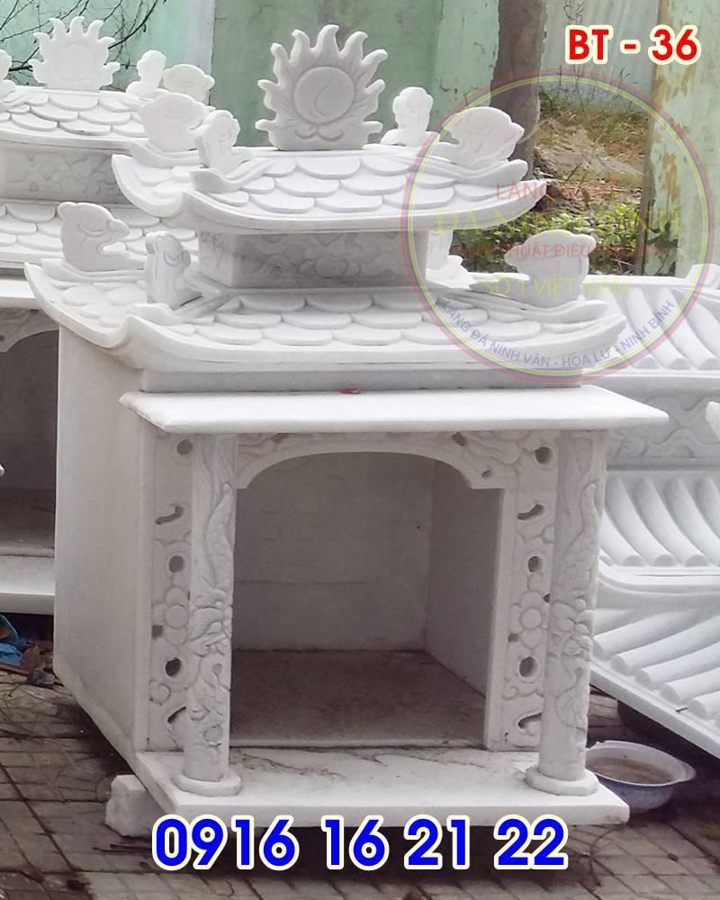 19 mẫu bàn thờ thiên ngoài trời đẹp bằng đá trắng thiết kế đẹp hai mái