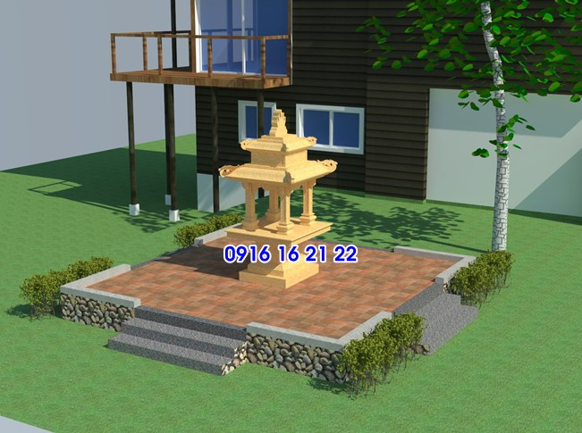Ban thờ thần 4 mặt bằng đá vàng