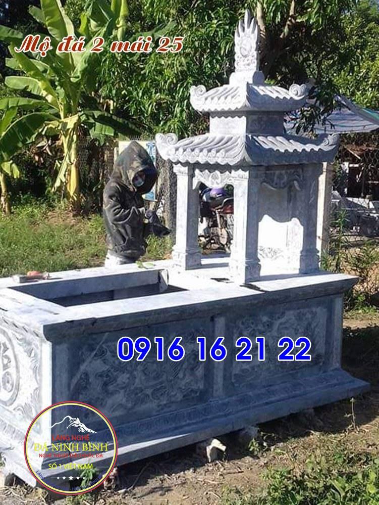 mẫu mộ đá đẹp có mái che chế tác tại ninh bình 25