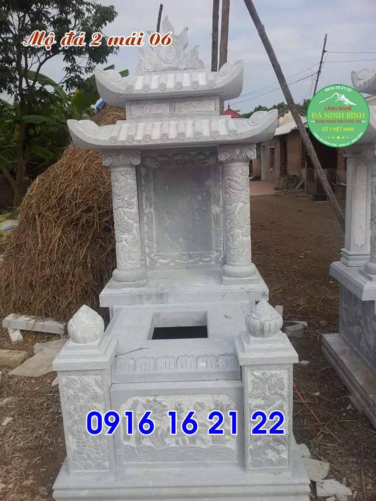 Mẫu ngôi mộ đẹp có mái che hai mái đẹp bằng đá bán giá rẻ 06