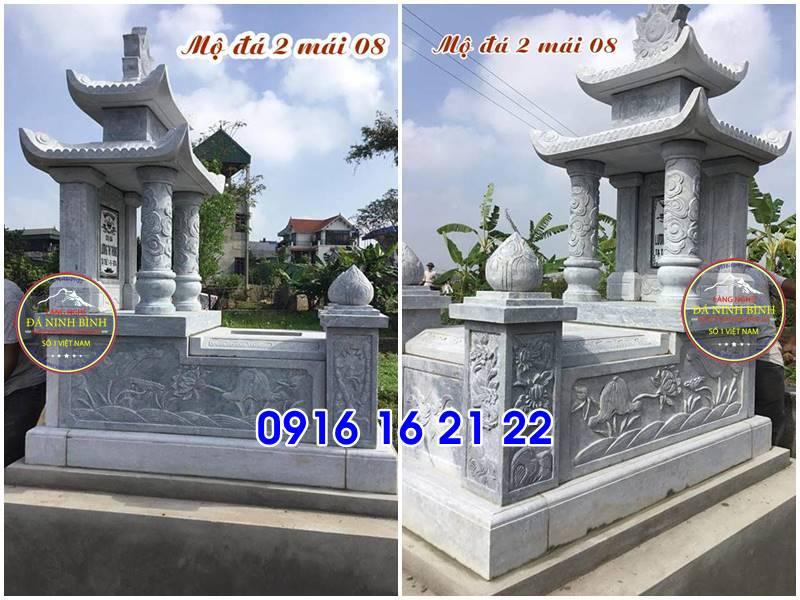 Mẫu ngôi mộ đẹp có mái che hai mái đẹp bằng đá bán giá rẻ