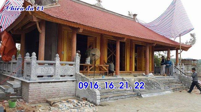 Mẫu chiếu rồng đá chiếu đá bậc thềm đẹp nhất trước cửa nhà thờ đình chùa 13
