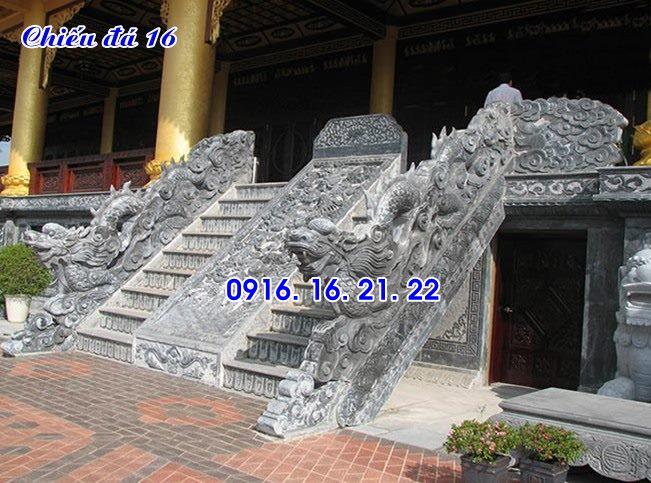 Mẫu chiếu rồng đá chiếu đá bậc thềm đẹp nhất trước cửa nhà thờ đình chùa 16