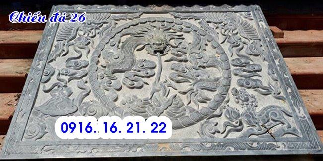 Chiếu rồng đá đẹp bằng đá tự nhiên trước cửa nhà thờ họ từ đường đình chùa 26