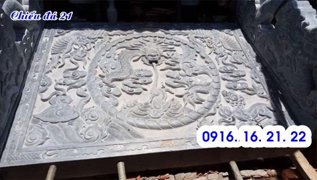 Chiếu rồng đá đẹp bằng đá tự nhiên trước cửa nhà thờ họ từ đường đình chùa