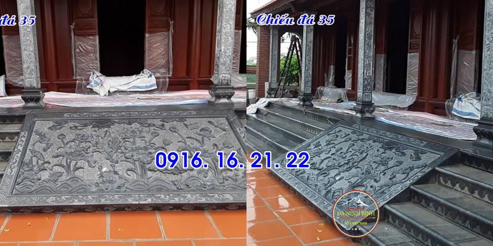 Mẫu chiếu rồng đẹp bằng đá trước cửa nhà thờ họ từ đường đình chùa