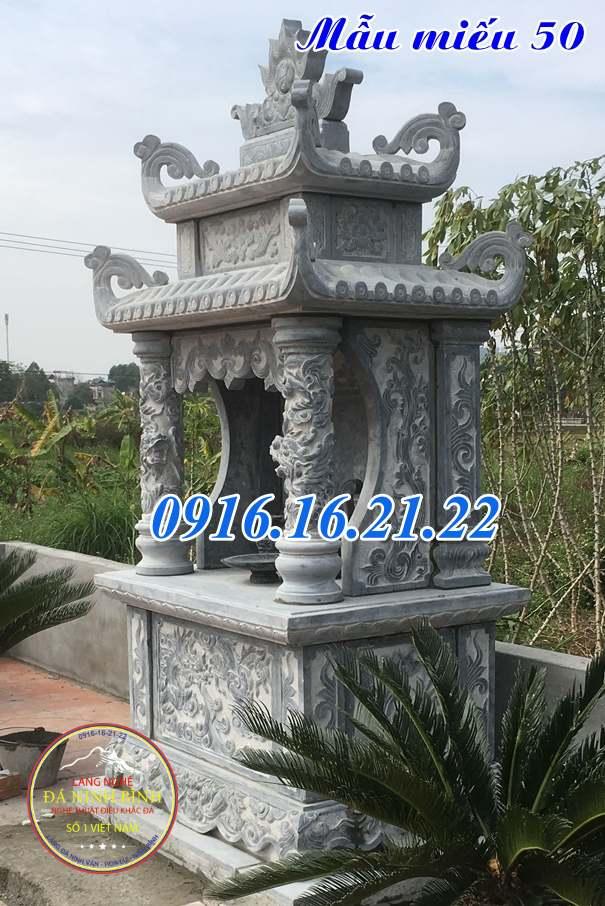 Mẫu am thờ ngoài trời thờ quan âm bồ tát bằng đá khối đẹp 50