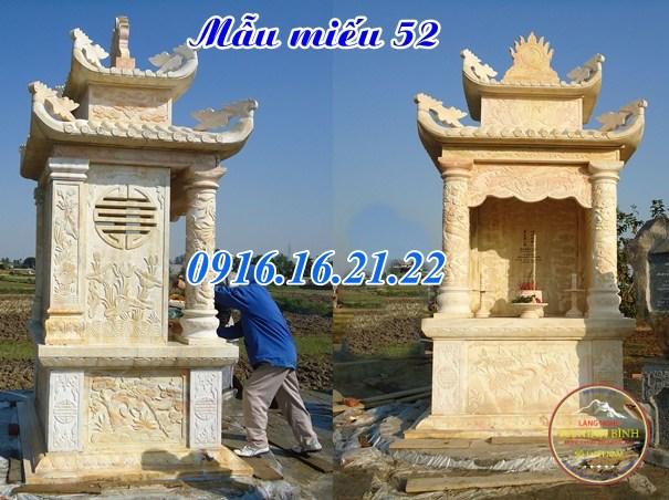 Mẫu am thờ ngoài trời thờ quan âm bồ tát bằng đá khối đẹp 52