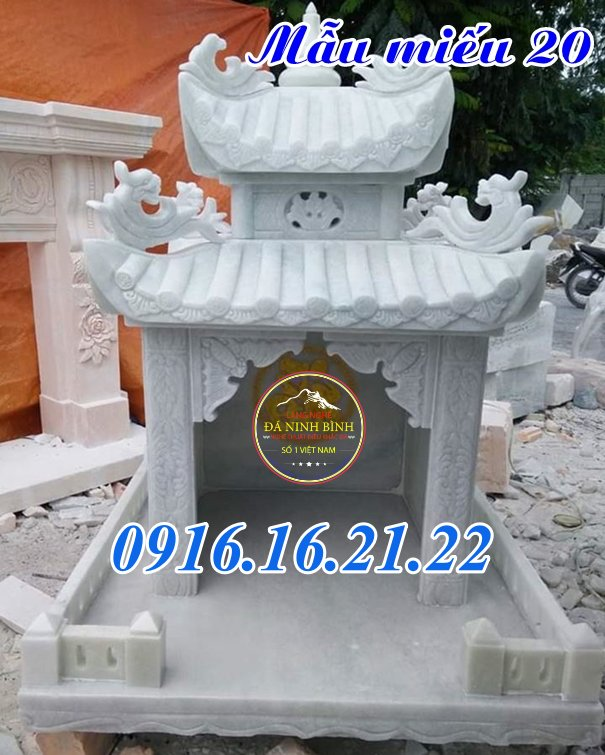 Mẫu miếu thờ thần linh bằng đá trắng tự nhiên