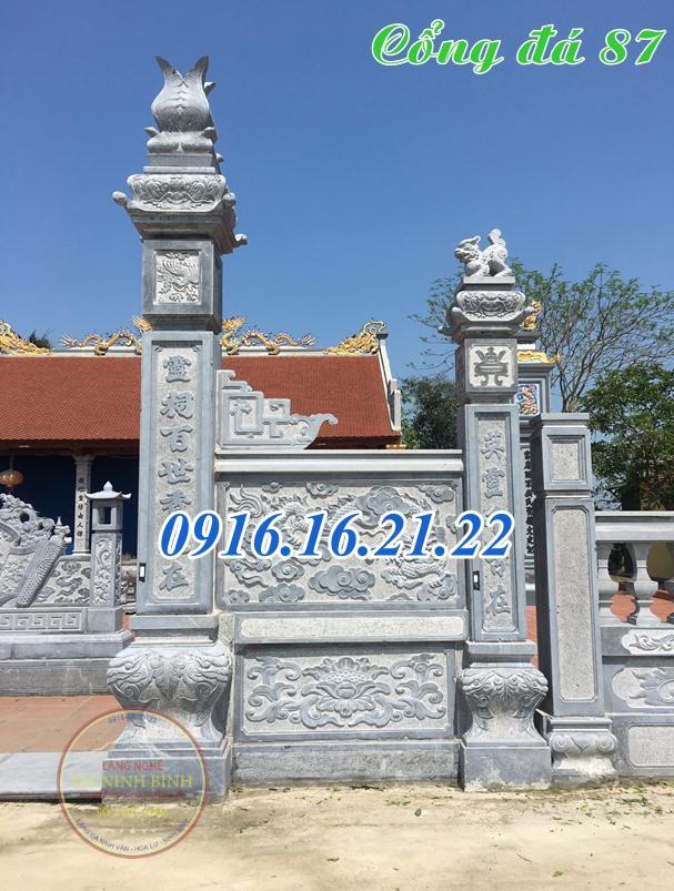 Cổng đền bằng đá tự nhiên thiết kế đơn giản