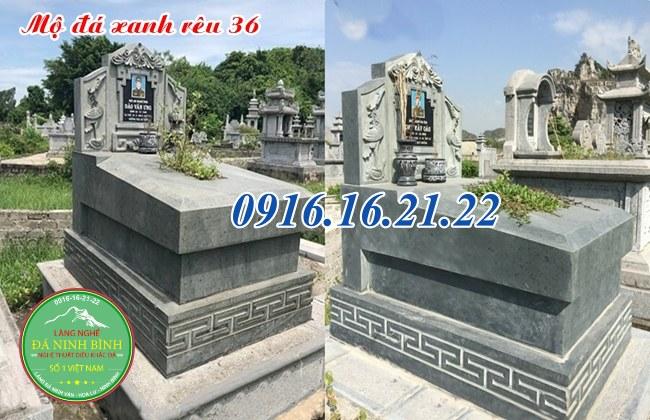 Mộ đá xanh rêu thiết kế hiện đại 36
