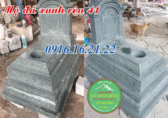 Mộ đá xanh rêu thiết kế hiện đại 41