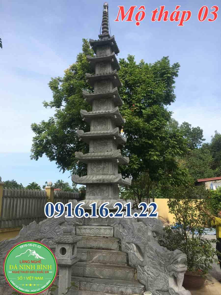 Mộ tháp đá thiết kế đẹp tại Long An